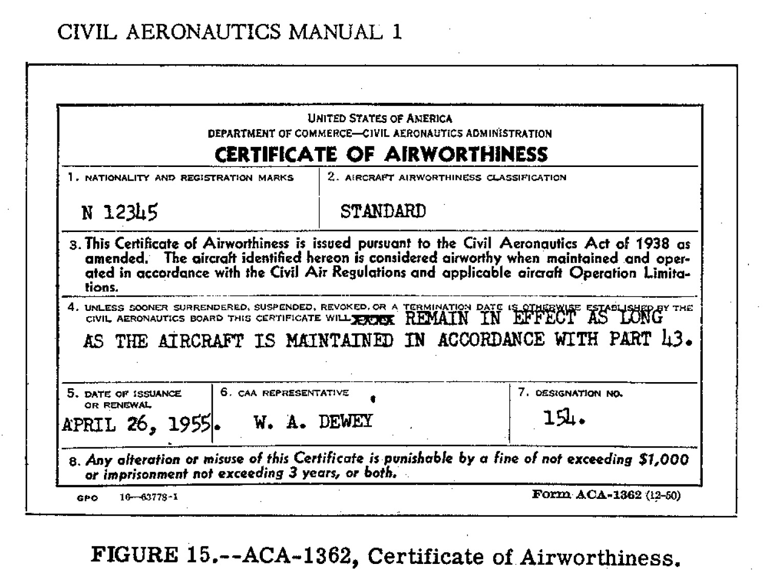 Aca 1362g early permanent certificate of airworthiness example no longer legal yadclub Gallery